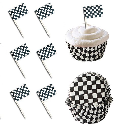 24 Checkered Racing Flag Cupcake Pick Decorations & 24 Baking Cups Set by Bakery Crafts