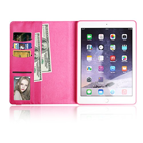 BoriYuan iPad 4&3&2 360 Degree Rotating Stand PU Leather Case Protective Flip Folio Detachable Soft Rubber Cover For Apple iPad 4/ iPad 3/ iPad 2 with Card Slot+Screen Protector+Stylus (Rose Red) Photo #8