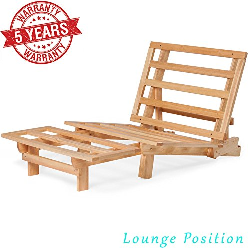 - Nirvana Futons Twin Futon Lounger with Twill Khaki Mattress, Natural Solid Wood