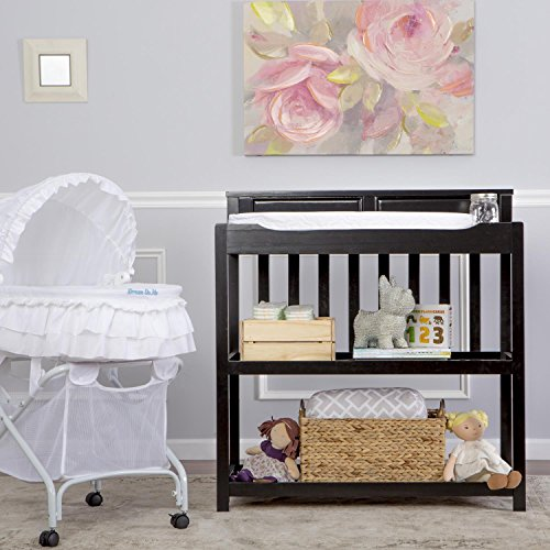 Dream On Me Zoey 3-in-1 Convertible Changing Table with Pad, Black
