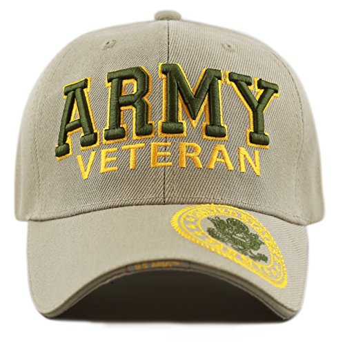 THE HAT DEPOT 1100 Official Licensed Military 3D Embroidered Army Veteran Cap (Army-Khaki)