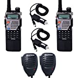 2pcs Baofeng UV-5RE8W 1/4/8Watt3800mAh Extended Battery(USA Warranty) 136-174/400-520MHz Two Way Radio FM Transceiver (with 2 Speaker Mics+2 Car Charger Cables)