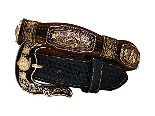 West Star Gold Concho Crocodile Stylish Genuine Leather Cowboy Emboss 1.5 Inches Belt