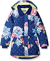 Joules Big Girls\' Marcotte Quilted Coat, Navy Floral, 8