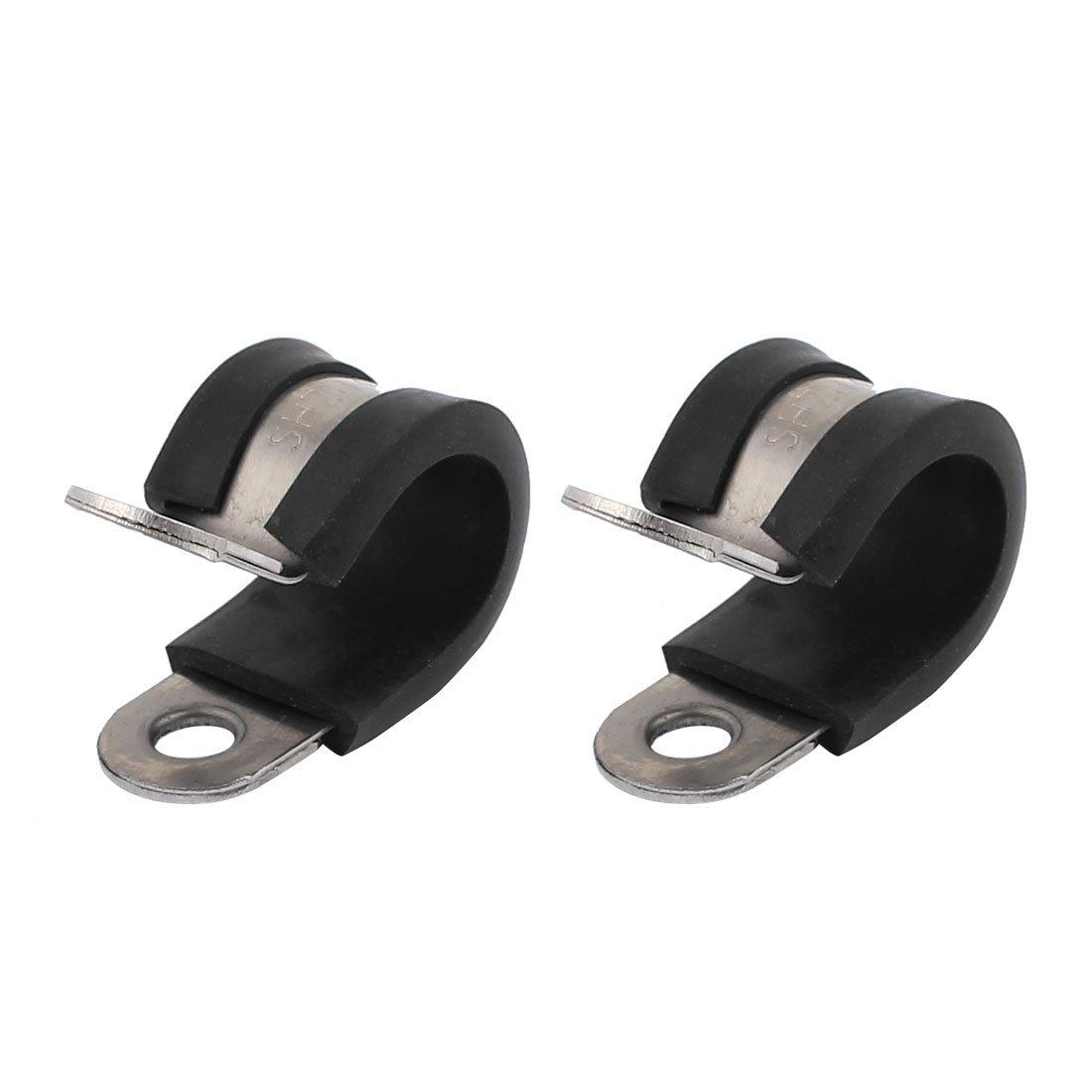 sourcingmap 2pcs de 14mm de diá metro Abrazaderas de cable de tubo revestidas de goma con forma de R tubo de acero inoxidable a17010900ux1013
