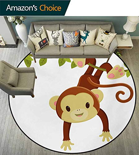 RUGSMAT Nursery Round Rug Kid Carpet,Cute Cartoon Monkey Hanging On Liana Playful Safari Character Cartoon Mascot Home Decor Foor Carpet,Diameter-24 Inch Brown Green ()