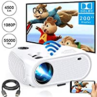 WiFi Projector,Weton 2020 Upgraded 4200Lux Led Wireless Mini Projector,200″ Display WiFi Movie Projector,Full HD 1080P Supported Video Projector for iOS Android Smartphones,TV Stick,Laptops,TV Box