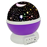 Night Lights for Kids, ZHOPPY Star and Moon Starlight Projector Bedside Lamp for Bed Room Kids Bedroom Decorations - Birthday Gifts for Kids, Purple