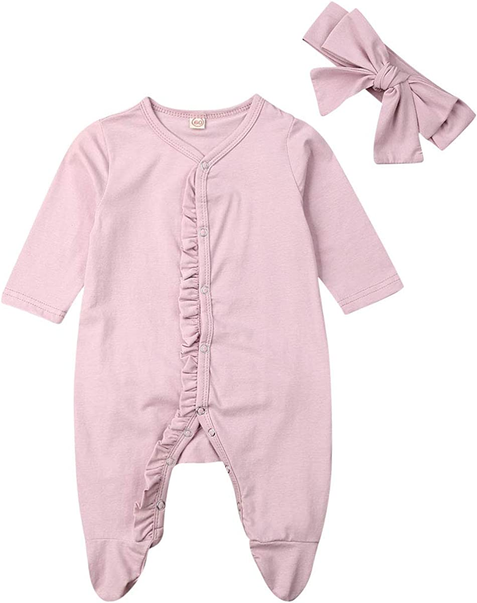 Newborn Baby Girl Boy Romper Jumpsuit Footed Pajamas Ruffle Footie Sleeper Fall Winter Outfit Clothes