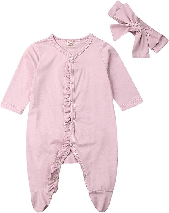 Alaby Baby Footed Pajamas Headband Newborn Unisex Boys Girls Cotton Lace Long Sleeve Sleeper Jumpsuit Set 2pcs Amazon Ca Clothing Accessories