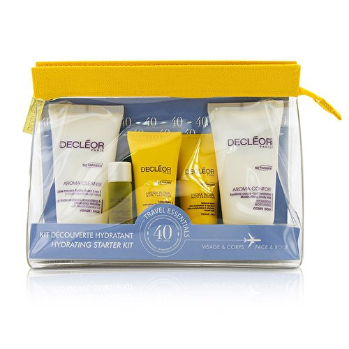 Decleor Cleansing Cream (Decleor Hydrating Starter Kit: Cleansing Mousse + Essential Serum 5ml + Light Cream 15ml + Body Milk 50ml + Bag, 1 Count)