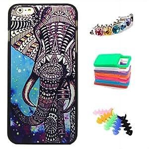 SHOUJIKE BIG D Elephant Pattern Back Case & Dust Plug & woolwinder & Holder for iPhone 6 Plus