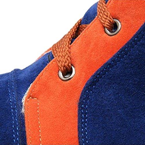 fereshte New Womens Lace UP Fleece Lined High Top Nubuck Snow Boots Blue M9myhIVgP