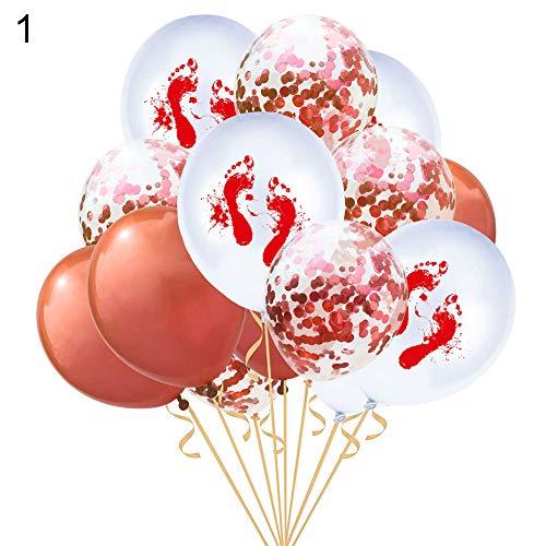Latex Foil Balloons,longdelaY6 15Pcs 12inch Bloody Handprint Footprint Latex Balloons Halloween Party Decor - 1#]()