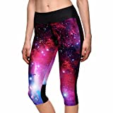 sissycos Women's Galaxy Print Capri Leggings with Pockets Plus Size Workout Tights Cropped Pants