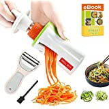 Spiralizer Vegetable Spiral Slicer Spaghetti 3 Blade - Well Buy Carrot Spiral Slicer Pasta Maker Zoodle Slicer Zucchini Veggie Spaghetti Maker - With Julienne Peeler Cleaning Brush Spiral