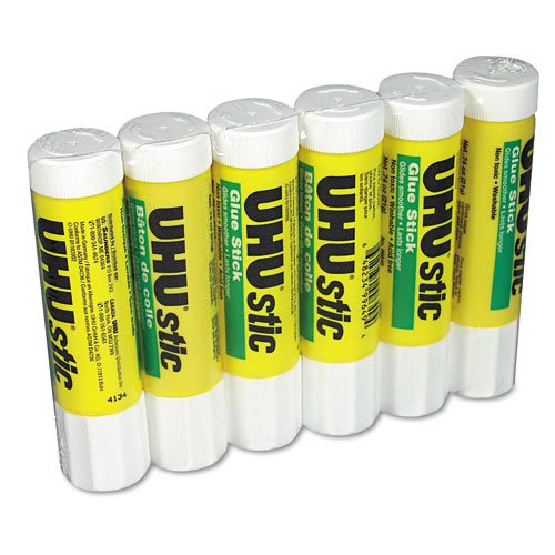 UHU : UHU Stic Permanent Clear Application Glue Stick, .74 oz, 6/pack -:- Sold as 2 Packs of - 6 - / - Total of 12 Each