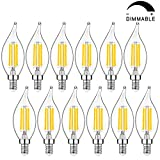 12-Pack Candelabra LED Bulbs Dimmable 40W Equivalent, Chandelier Light Bulbs 4W, 2700K Warm White Light E12 Base, CA11 Flame Tip Vintage LED Candle Bulbs Best for Living-Room, Bedroom, Ceiling Fan