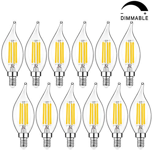 Candelabra LED Bulbs Dimmable 40W Equivalent, 2700K Warm White Light, 4W E12 Base Chandelier Light Bulbs, CA11 Flame Tip Vintage LED Candle Bulbs Best for Living-room, Bedroom, Ceiling Fan, Pack of 12