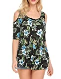 Lalala Women's Cut Out Shoulder Light Weight Wear with Leggings Flower Shirts