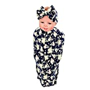 Hollyhorse Baby Blankets for Boys & Girls,Newborn Lovely Beautiful Sleep Receiving Blankets| Swaddle Blankets with Gift Headband - Flower