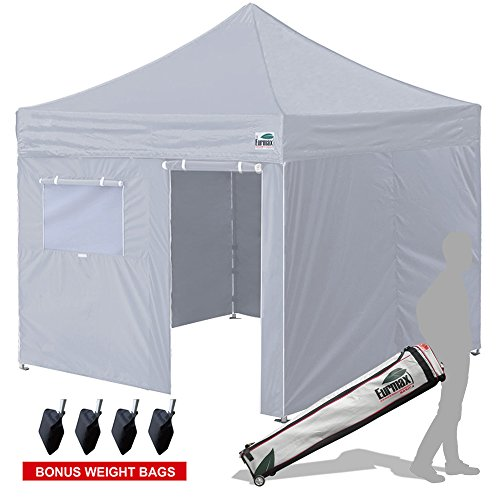 10 Ez Pop Up Canopy Outdoor Canopy Instant Tent with 4 zipper Sidewalls and Roller Bag,Bouns 4 weight bags, Grey (Celebration Signature Plates)