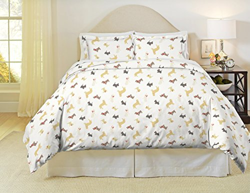 Pointehaven Heavy Weight Flannel Duvet Set, King/Cal King, Winter Dogs