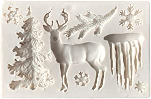 AMOYER 1pc Silicone Cake Mold Cartoon Elk Glacier Christmas Tree Fondant Chocolate Candy Molds Non-Stick Cookies Pastry Biscuits Mould Bakeware