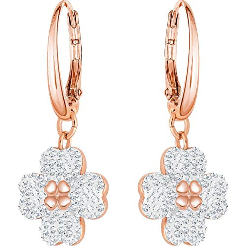 (Swarovski Crystal Authentic Latisha Pierced Earrings, White, Rose Gold Plated - High Class Stone Studded Fancy Jewelry and Elegant Fashion Accessories - Women's Wedding and Cocktail Jewelries)