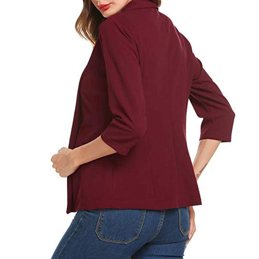 IMJONO Bluse Damen elegant Frauen Spitze Mode Vintage,Frauen Mini Anzug L/ässige 3//4 /Ärmel Offene Front Work Office Blazer Jacke Strickjacke