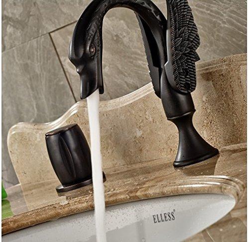 Gowe Widespread 3pcs Oil Rubbed Bronze Bathroom Sink/Tub Faucet Double Handles Mixer Tap 4