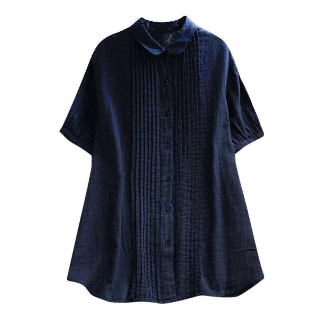 YFancy Women Girls Fashion Tops Summer Daily Short Sleeve Casual Loose Turn-Down Collar Tank Tops Tee Shirt Blouse
