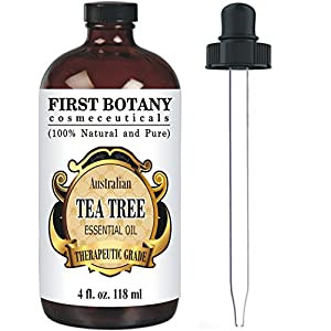The Best Tea Tree Oil (Australian) 4 fl.oz. with glass dropper by First Botany Cosmeceuticals- 100 % Pure and Natural Premium Quality - A Classified Therapeutic Essential Oil- Legion dermatological Benefits - Unadulterated, Concentrated extract Natural Antiseptic - A Refined and Known solution to help in fighting dandruff, acne, toenail fungus, yeast infections, cold sores and more...