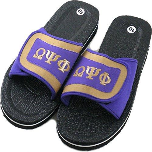 Omega Psi Phi Strapped Mens Flip Flop Sandals [Black/Purple - 10]