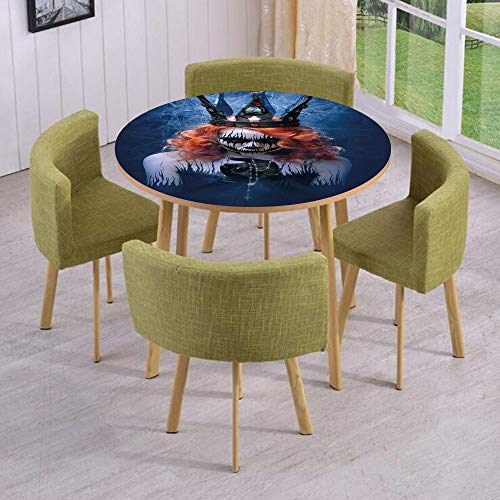 iPrint Round Table/Wall/Floor Decal Strikers,Removable,Queen of Death Scary Body Art Halloween Evil Face Bizarre Make Up Zombie,for Living Room,Kitchens,Office Decoration -