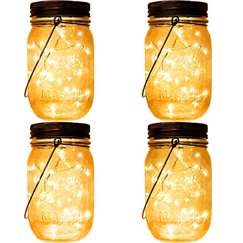 (Solar Lanterns Hanging Mason Jar Lights,4 Pack Fairy Firefly Starry Led String Jar Lights (Jars/Handmade Woods/Hangers Included) Mason Jar Patio Garden Wedding Wall Decor)