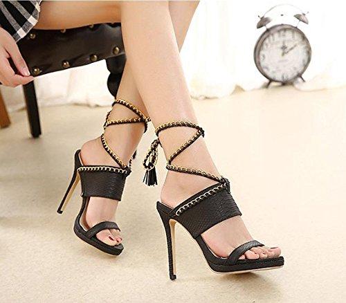 Black Cadena Señoras Correa Zhangyuqi La Sandalias Moda Las color Alto Del Manera Black Tamaño Talón De 37 8pwOqwB