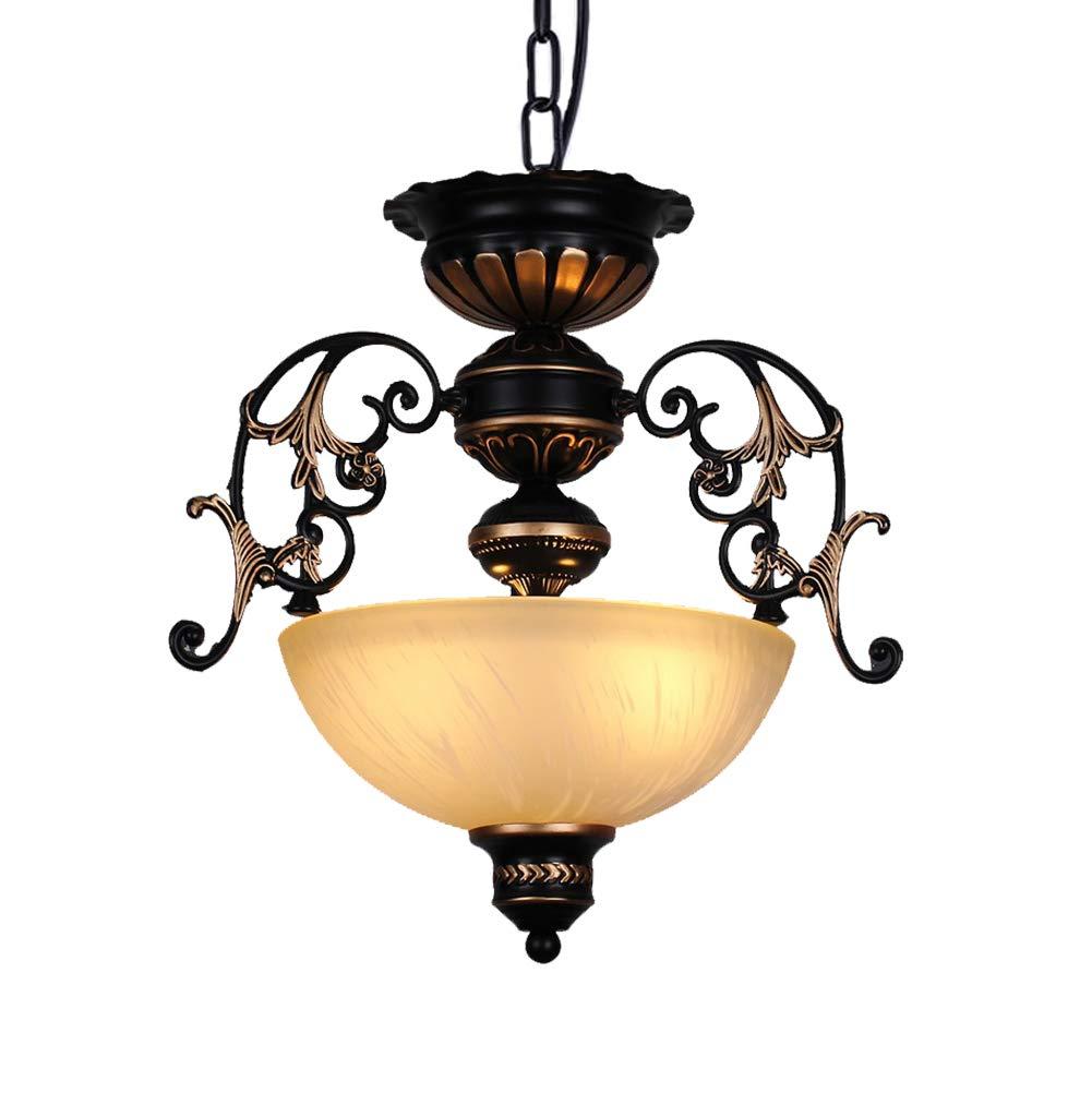 Pendelleuchte Antik Rund Design Wohnzimmer Deckenleuchte Schlafzimmer Deckenlampe Glas Lampenschirm Kronleuchter 3-flammig E27 Sockel für Esszimmer Esstisch Restaurant und Flur Lampe Ø38CM Pendellampe