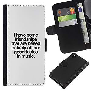 Opción de regalo/smartphones Piel Carcasa para Sony Xperia Z3 D6603 // Buen gusto música amistad amor cotizacion //