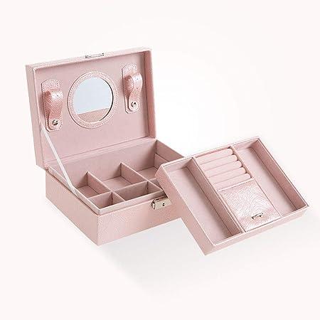 Caja de almacenamiento de joyas, organizador de caja de joyería de cuero de imitación, almacenamiento de maquillaje y accesorios con espejo y cerradura fabuloso para Navidad, regalo de cumpleaños: Amazon.es: Joyería