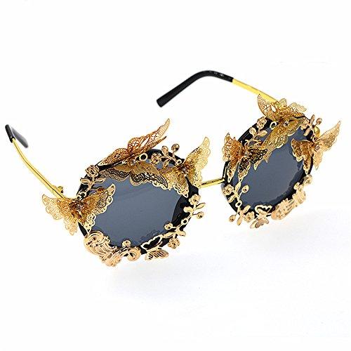 oro a de gafas de Gafas de protección UV color gafas mujer polarizada para de Lujo barrocas conducción y de sol retro para metal mariposa sol flor hecho varios de colores en sol mano mujer disponibles 6YrZqfYB