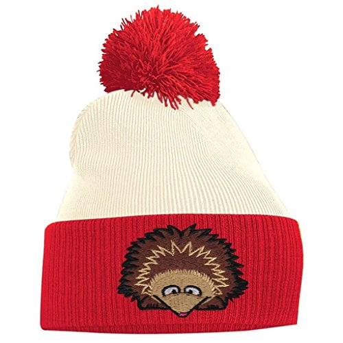 Red and Off Hedgehog White Pom Pom Beanie qwtInpxAnz