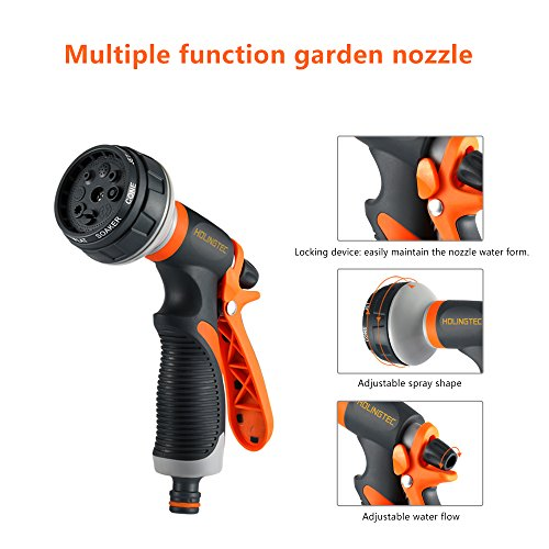 Garden Hose Nozzle HOLINGTEC Spray Nozzle 8 Patterns No-Squeeze Sprayer High Pressure Flow Control 0-max Rear Trigger Design Suitable for Car Washing Cleaning the exterior glass Garden Watering Pets S