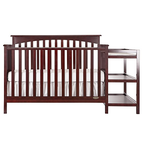 Dream On Me Chloe 5-in-1 Convertible Crib with Changer, Cherry