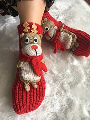 Christmas Socks, Domeal 3D Non-slip Cartoon Elk Cute Christmas Socks for Women Red
