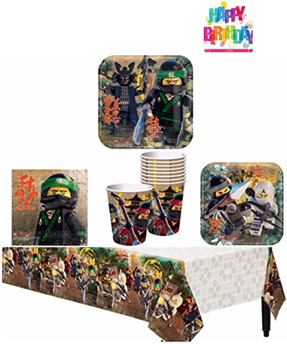 Lego Ninjago Birthday Party Supplies Pack for 8 Guests - Lunch Plates, Dessert Plates, Lunch Napkins, Cups, Table Cover, and 1 Happy Birthday (Ninjago Birthday Party Supplies)