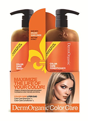 DermOrganic Color Care Shampoo and Conditioner Duo Set with Sunflower Anti-Fade Extract, 33.8 fl.oz (Healthy Care Lanolin Cream With Grape Seed)