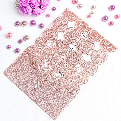 FEIYI 25PCS Laser Cut 5 x 7 inches Invitations Cards Luxury Diamond Gloss Design with Pearl Paper Insert for Wedding, Bridal Shower, Engagement Birthday Graduation Invite (Rose Gold Glitter)