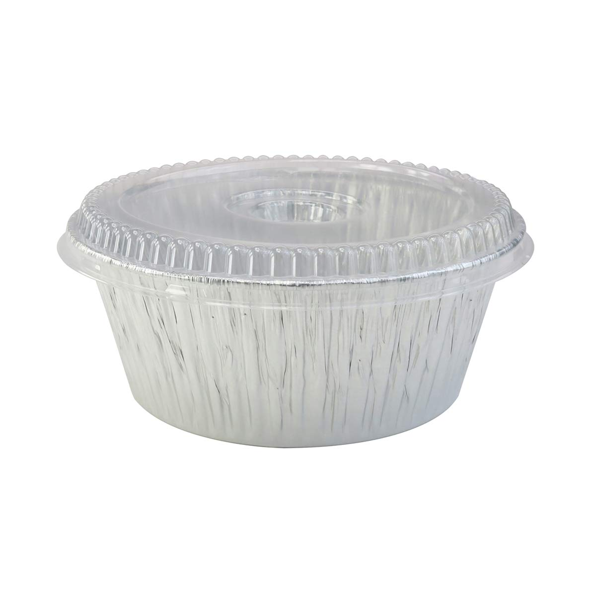 Disposable Aluminum Extra Deep 10'' Round All Purpose Baking Pan With Clear Dome Lid#1600P (10)