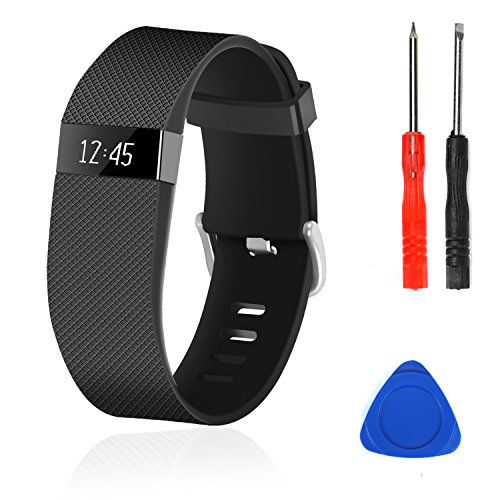 Wizvv Compatible Bands Replacement for Fitbit Charge HR,Charge HR 1, with Metal Buckle Fitness Wristband Strap Women Men Large Small (Black,Small)